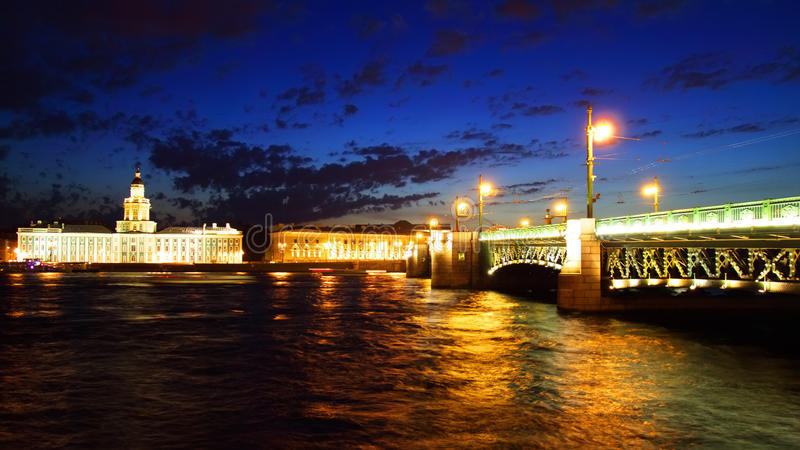 Download Night View Of Palace Bridge. St Petersburg Royalty Free Stock Image - Image: 26034526