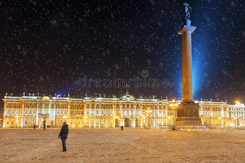 Night view in the Palace Square in St. Petersburg, Russia royalty free stock photo