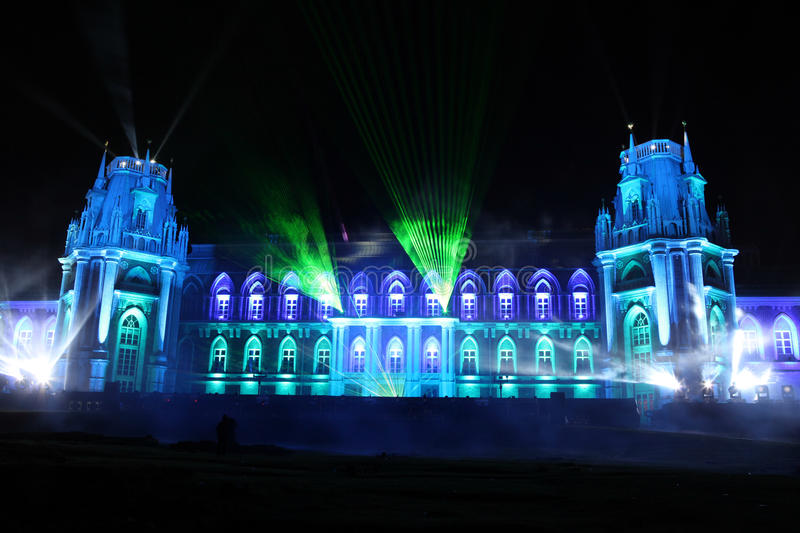 Night view of The palace Tsaritsyno history museum in Moscow, Ru royalty free stock photos