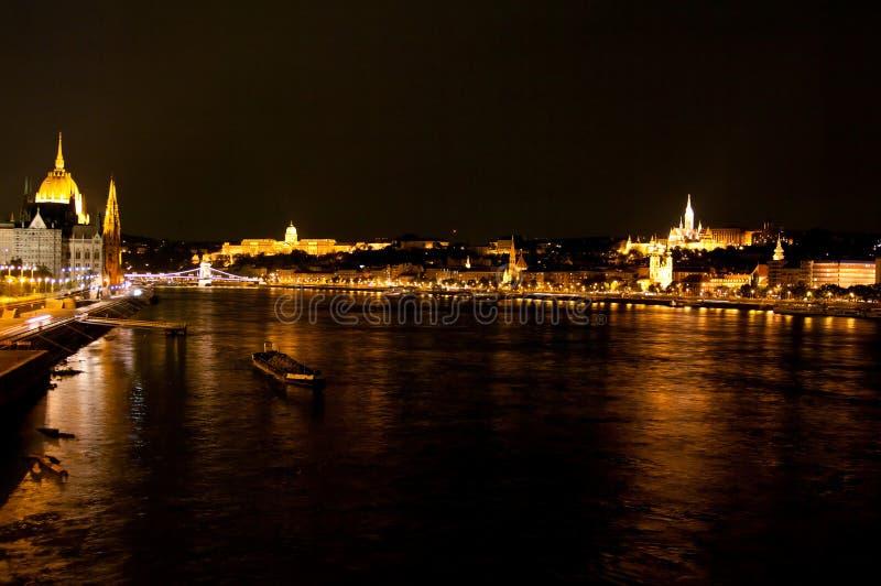 Night View Of Panorama Budapest, Hungary stock photography