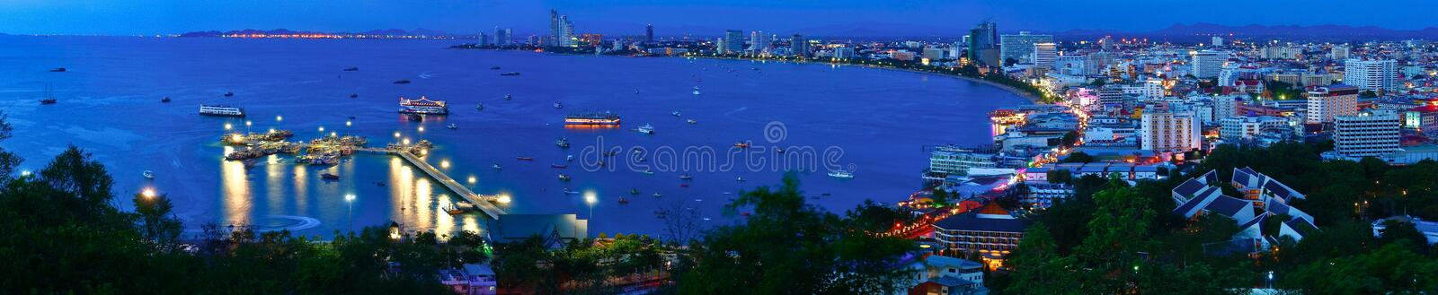 Night view panorama of Pattaya city, Thailand. Night view panorama of Pattaya city in Thailand royalty free stock photo