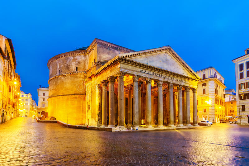 Night view of the Pantheon, Rome, Italy stock photo