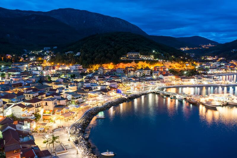 Night view of Parga city in Greece royalty free stock photography
