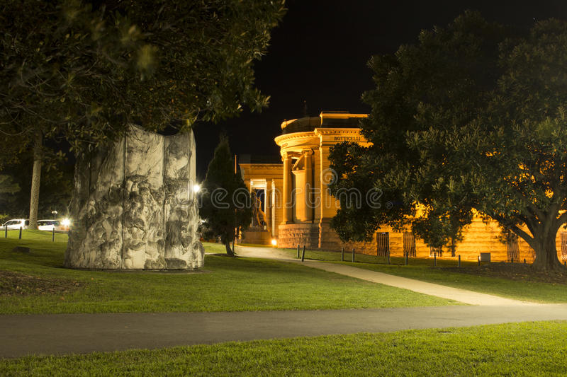 Night view of a park in Sydney CBD. royalty free stock images