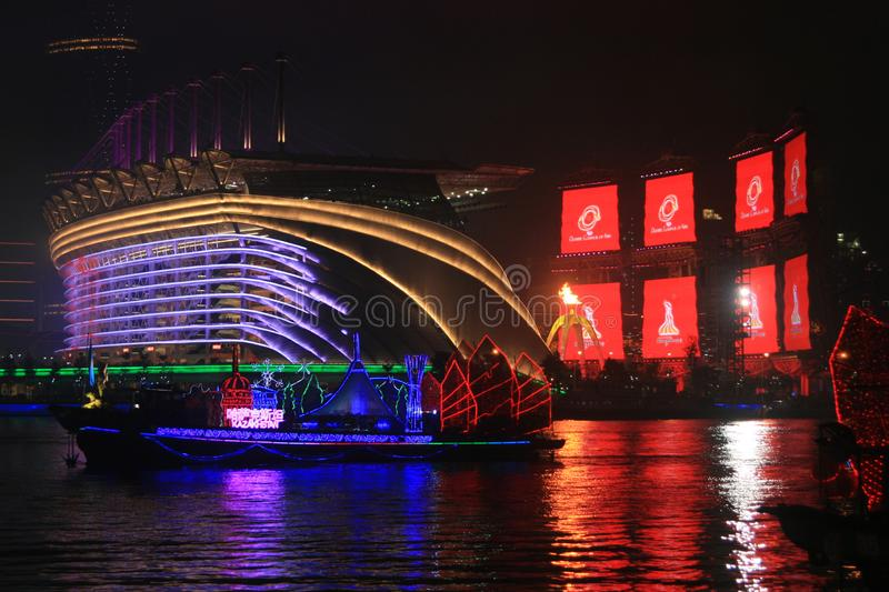 Night View of Haixinsha Stadium and the Pearl River in Guangzhou Canton China royalty free stock photos