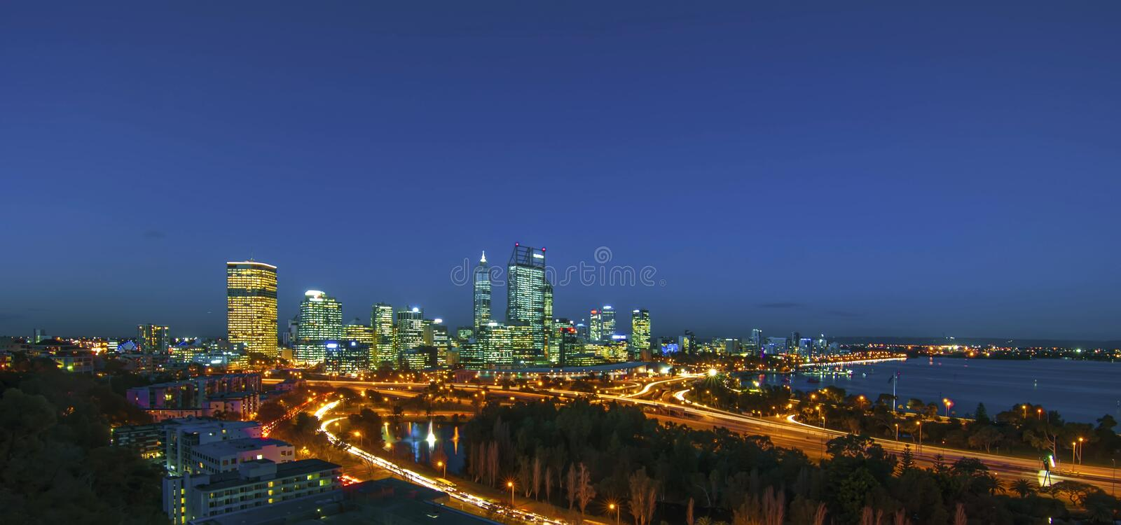 Night View of Perth Skyline from King's Park stock image