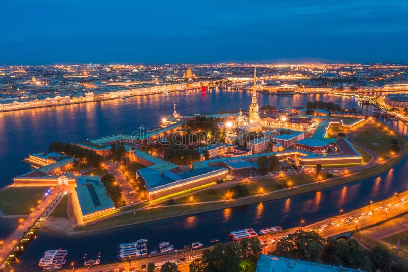 Night view of the Peter and Paul Fortress Hare Island and the city of St. Petersburg stock photos