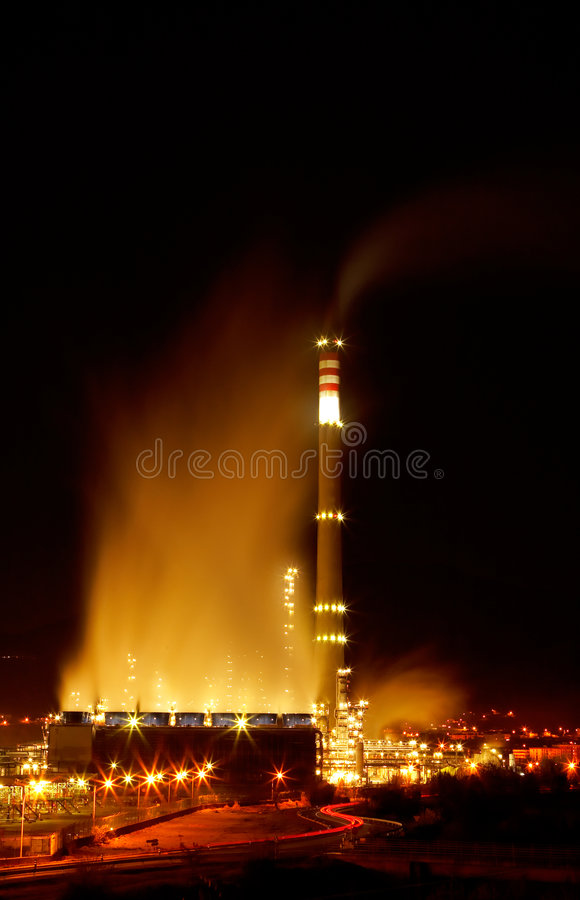 Night view of a petrochemical refinery royalty free stock photo