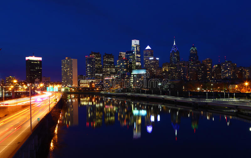 A night view of the Philadelphia City center. With a blaze of traffic lights stock photo