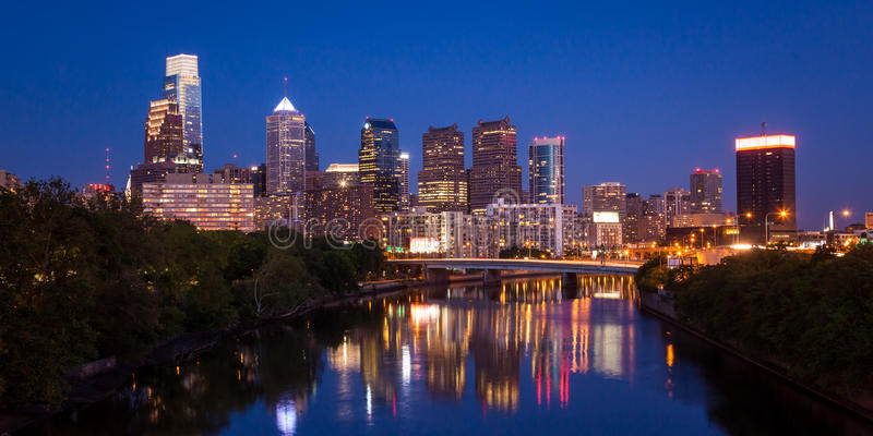 Night view of the Philadelphia skyline in pennsylvania royalty free stock photo