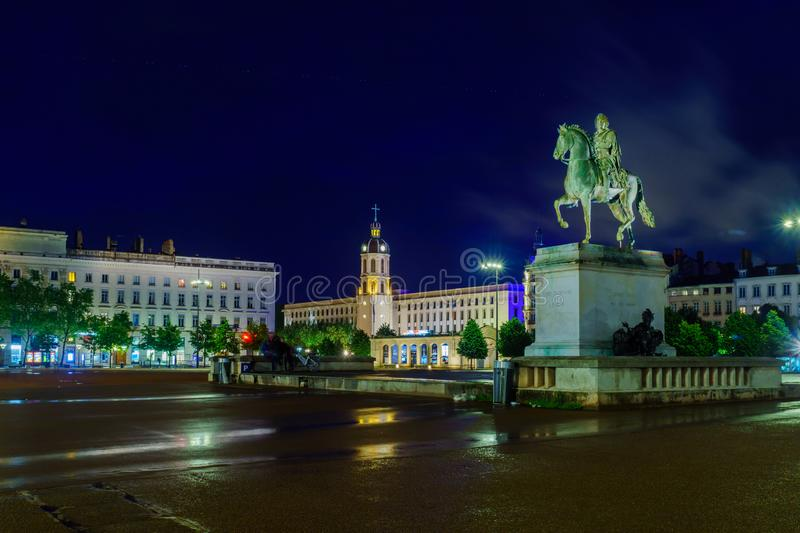 Night view of Place Bellecour square, in Lyon royalty free stock photos
