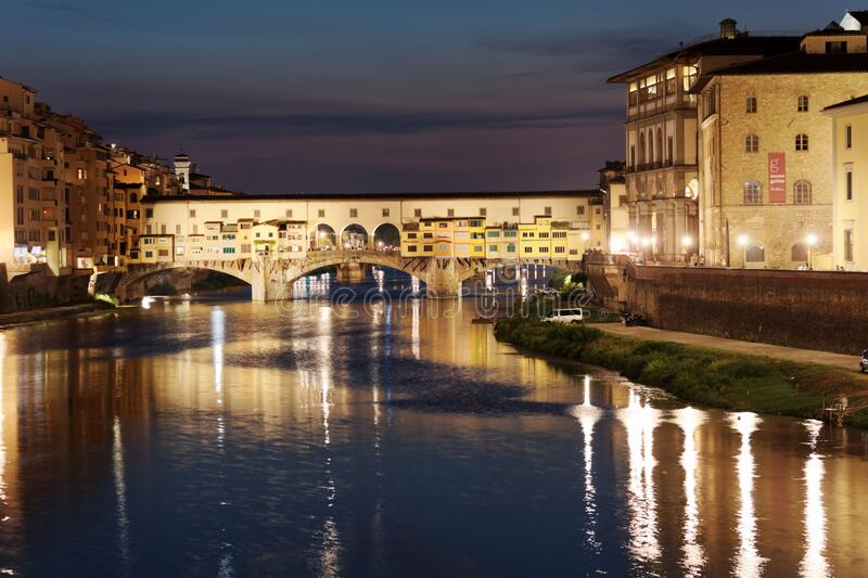 Night view of Ponte Vecchio in Florence, Italy royalty free stock photography