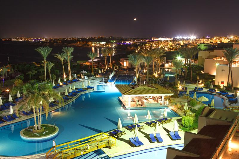 Beautiful night view of the Siva Sharm Hotel in Sharm El Sheikh November 03, 2016 royalty free stock photos