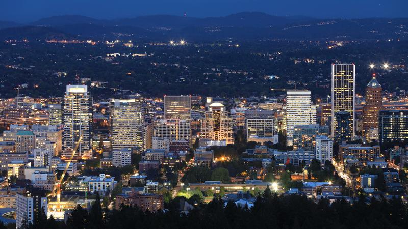 Night view of Portland, Oregon downtown royalty free stock images