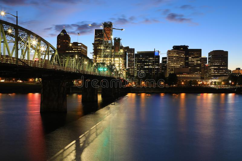 Night view of Portland, Oregon by river stock images