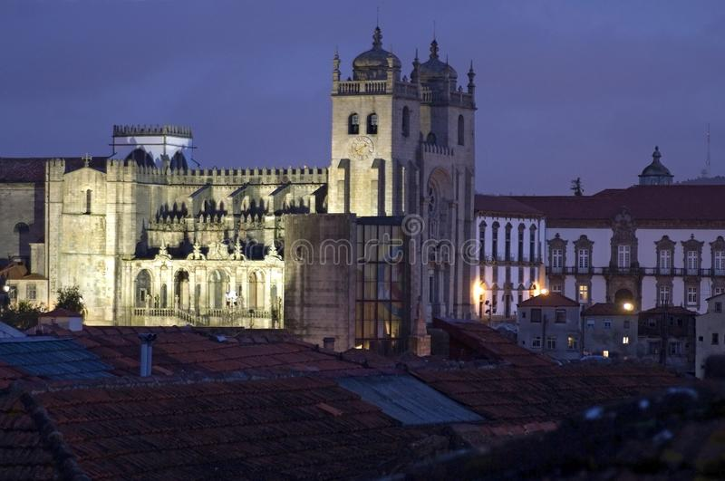 Night view of the Portuguese Se de Porto Cathedral royalty free stock images