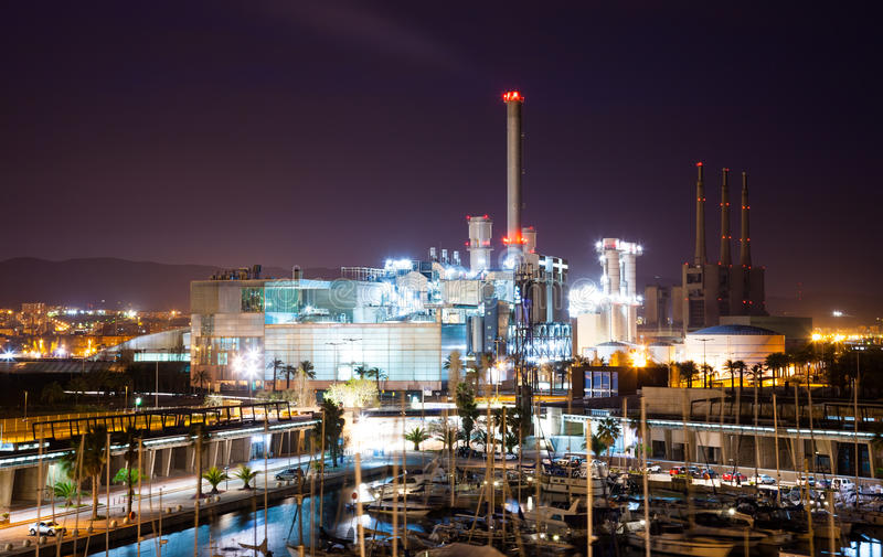 Night view of power plant and Port stock photography