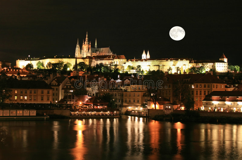 The night view of Prague royalty free stock images