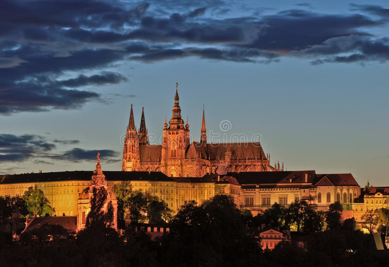 Night view on Prague Castle stock image