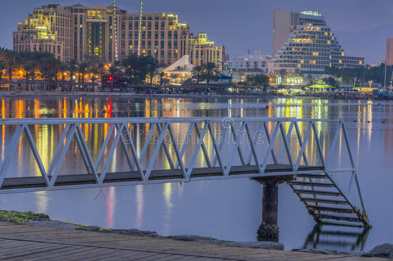 Night view on promenade in Eilat. Eilat is a famous resort city of Israel stock photo