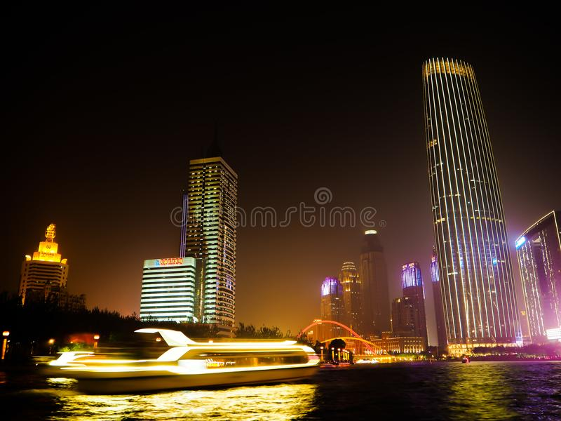 Night view from the promenade in Tianjin stock photos
