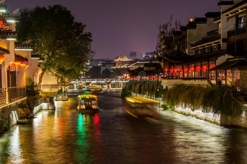 Night view of Qinhuai River and historic buildings at the riverbank near Fuzimiao Confucius Temple in Nanjing, China.  royalty free stock images