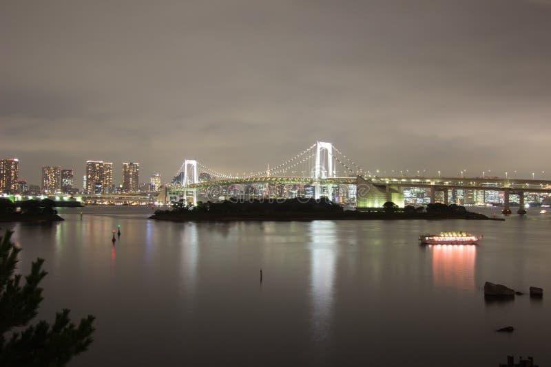 Night view of Rainbow Bridge and the surrounding Tokyo Bay area as seen from Odaiba, Minato, Tokyo, Japan. Rainbow Bridge is a suspension bridge crossing royalty free stock photos