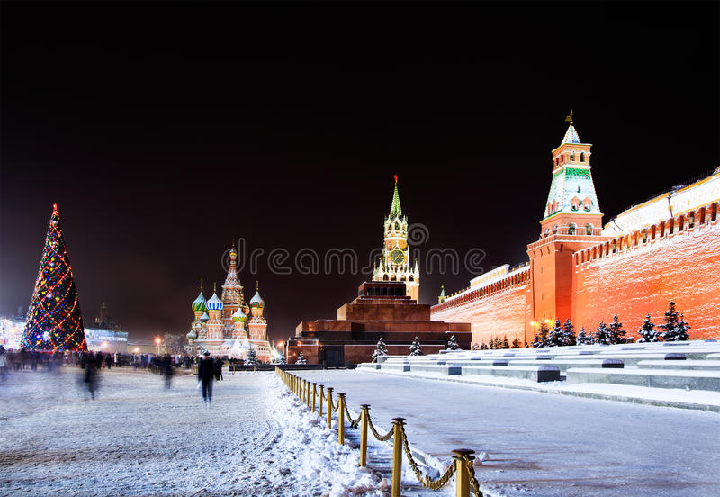 Night view of the Red Square in Moscow with decora. Ted Christmas tree on January 3, 2010. The Red Square is very popular place to celebrate New Year and stock photos