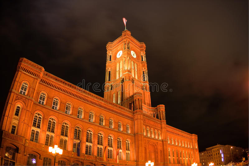 Download Night View On Red Town Hall In Berlin Stock Photo - Image: 13958880
