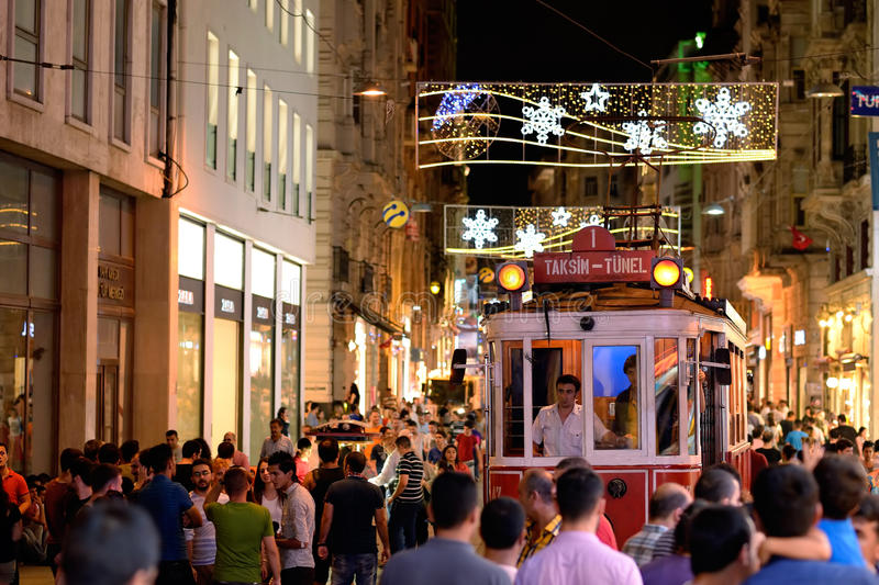 Night view of the Red Tram, Istanbul, Turkey. royalty free stock photos