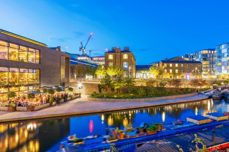 Night view of Regents Canal and Central Saint Martins stock photo