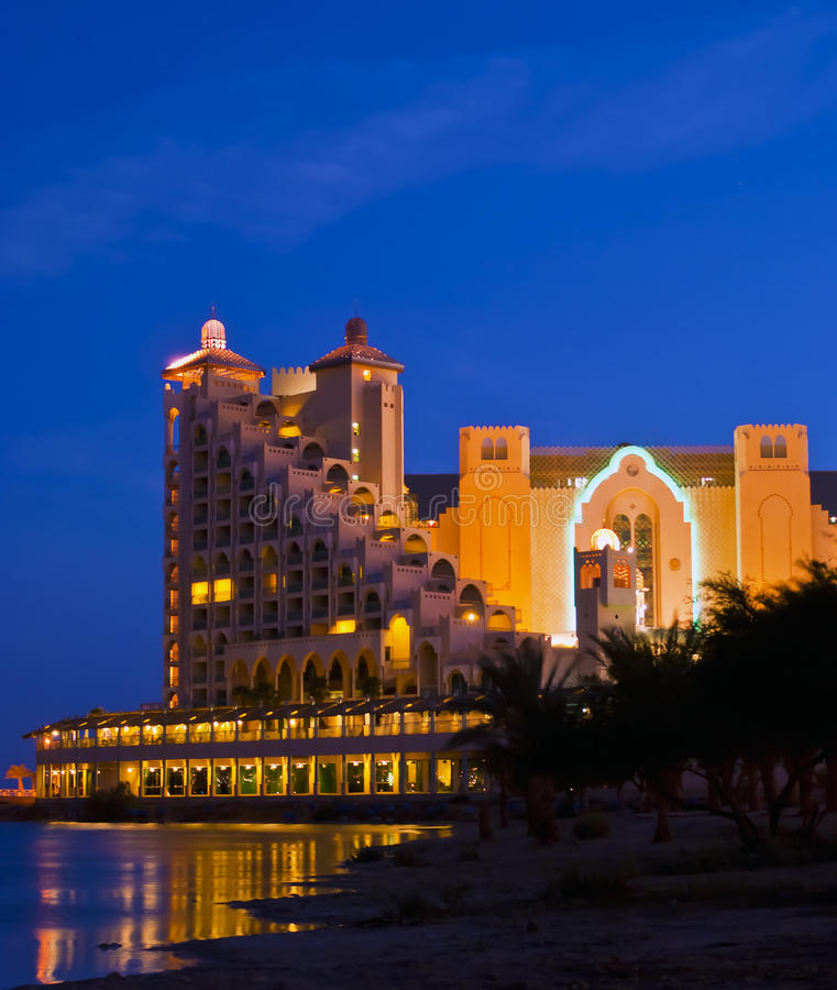 Night view on resort hotels in Eilat city, Israel. Eilat is a famous resort city in Israel royalty free stock photo