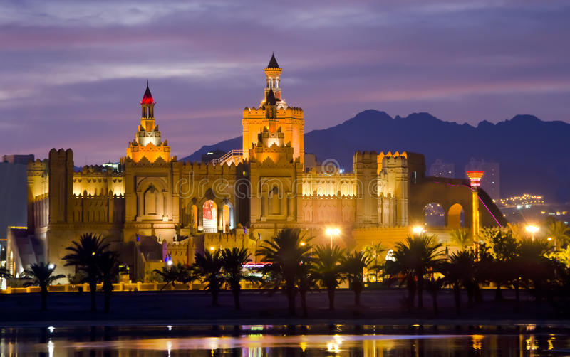 Night view on resort hotels in Eilat city, Israel stock image