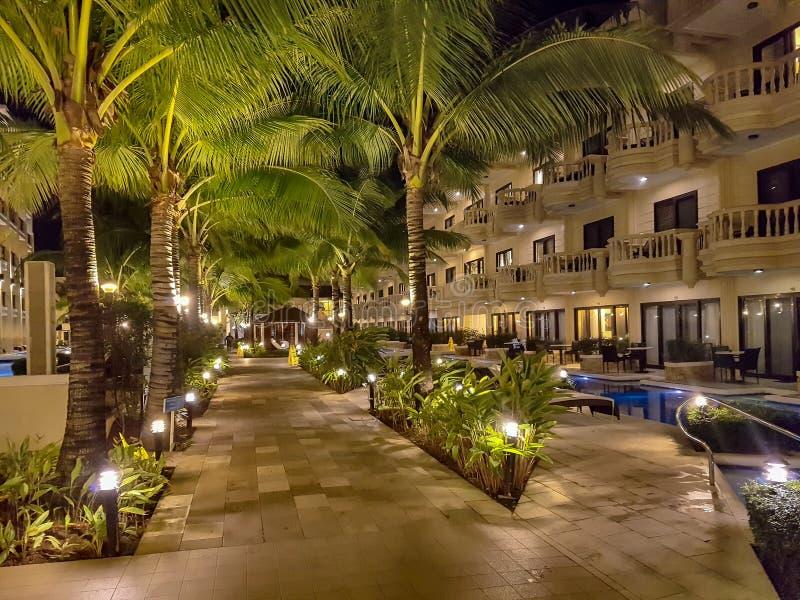 Night view of resort stock photography