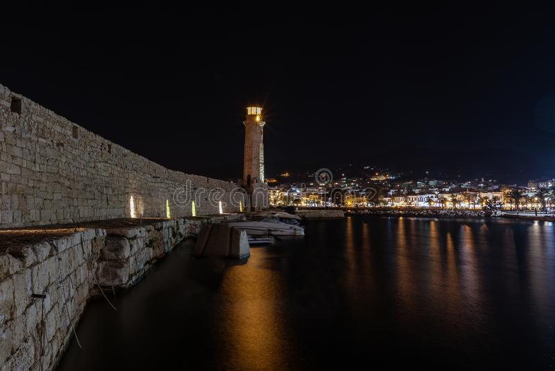 Night view of Rethymno town harbor at Crete island, Greece.  royalty free stock images
