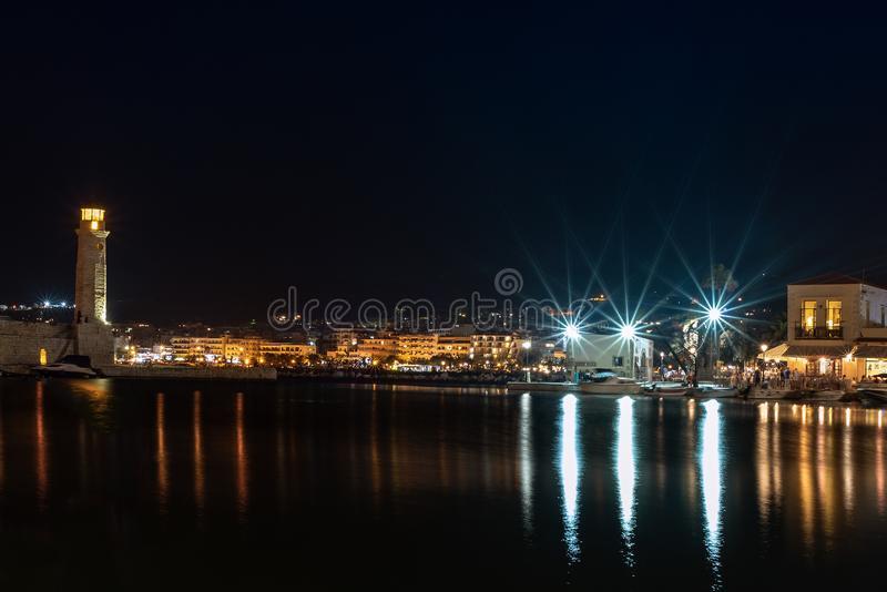 Night view of Rethymno town harbor at Crete island, Greece.  stock photo
