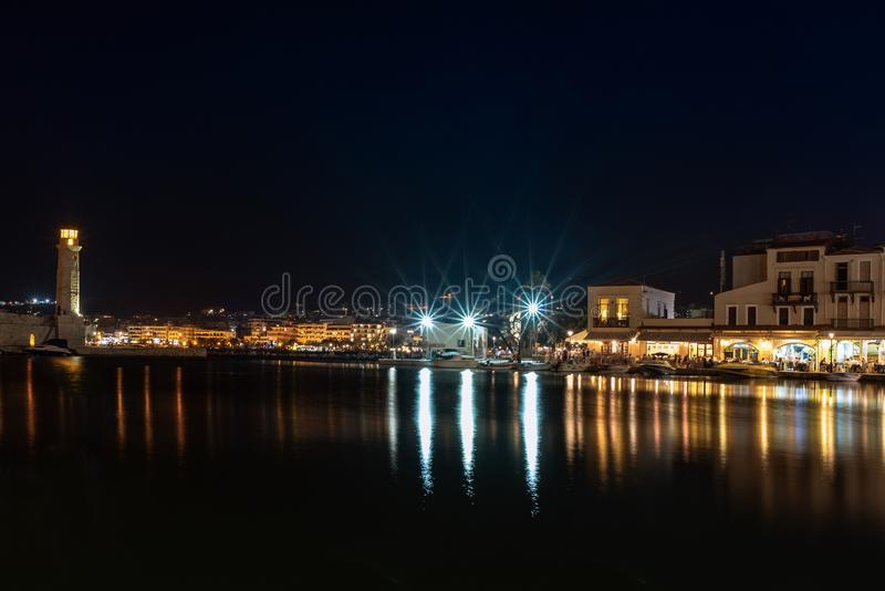 Night view of Rethymno town harbor at Crete island, Greece.  royalty free stock photography