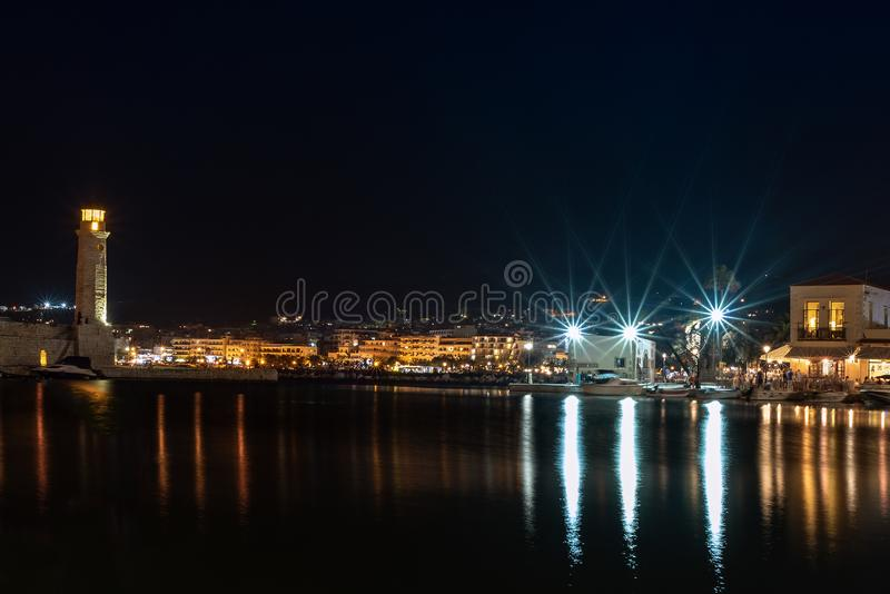 Night view of Rethymno town harbor at Crete island, Greece.  royalty free stock photos