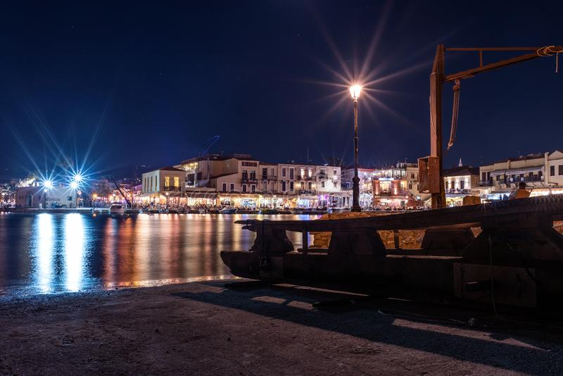 Night view of Rethymno town harbor at Crete island, Greece. RETHYMNO, GREECE - AUGUST 2018: Night view of Rethymno town harbor at Crete island, Greece royalty free stock images