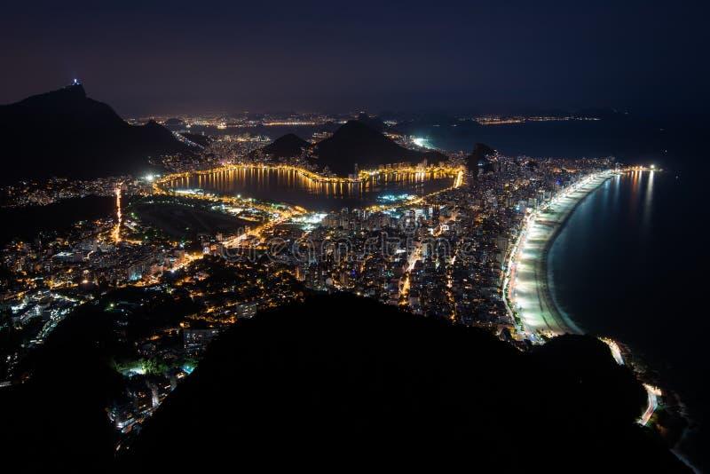 View of Rio de Janeiro at Night Time stock photo