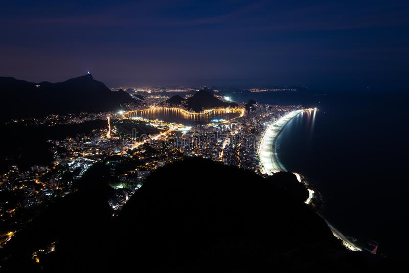 View of Rio de Janeiro at Night Time royalty free stock photo