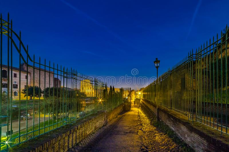 Night view of Colosseum in Rome, Italy stock images