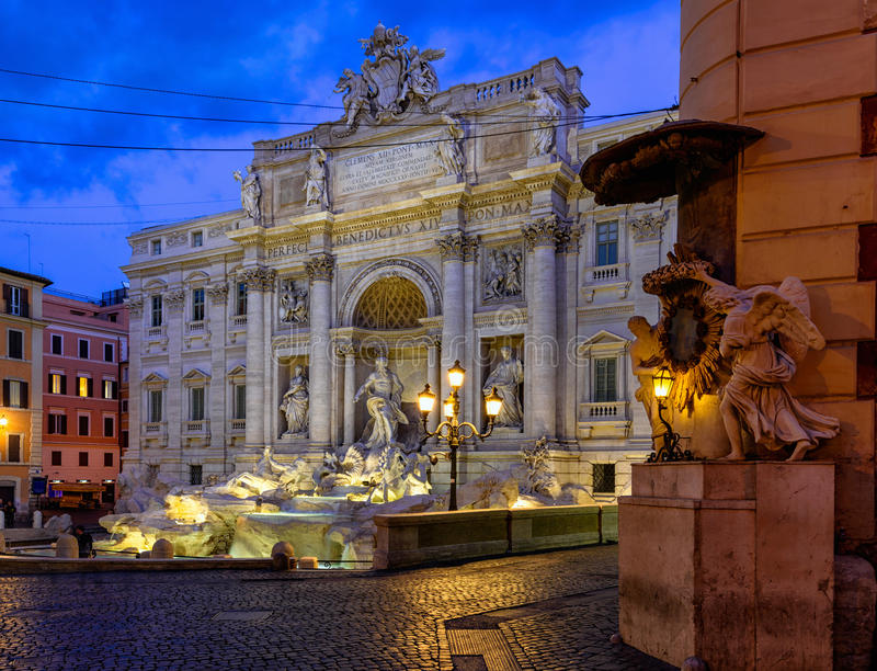 Night view of Rome Trevi Fountain Fontana di Trevi in Rome, Italy. Trevi is most famous fountain of Rome. Architecture and landmark of Rome royalty free stock images