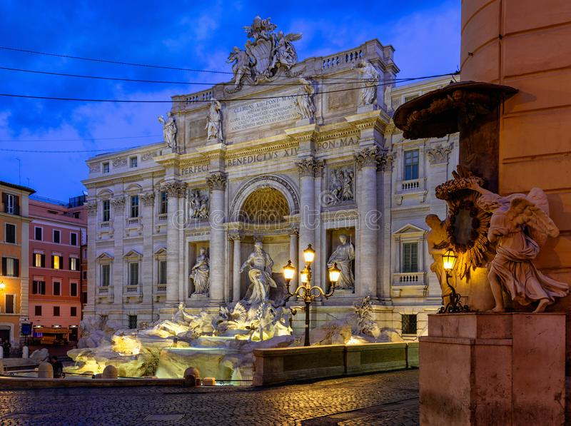 Night view of Rome Trevi Fountain Fontana di Trevi in Rome, Italy. Trevi is most famous fountain of Rome. Architecture and landmark of Rome royalty free stock photos