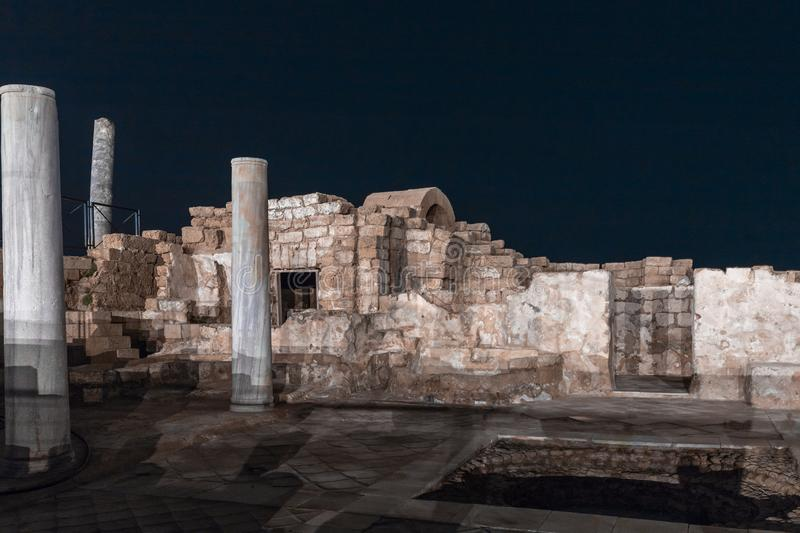 Night view of the ruins of Caesarea city on the Mediterranean coast, which was built by the king of Judea, Herod the Great, in hon stock photos