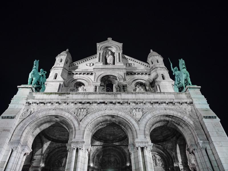 Night View of the Sacred Heart church in Montmartre, Paris. royalty free stock photos