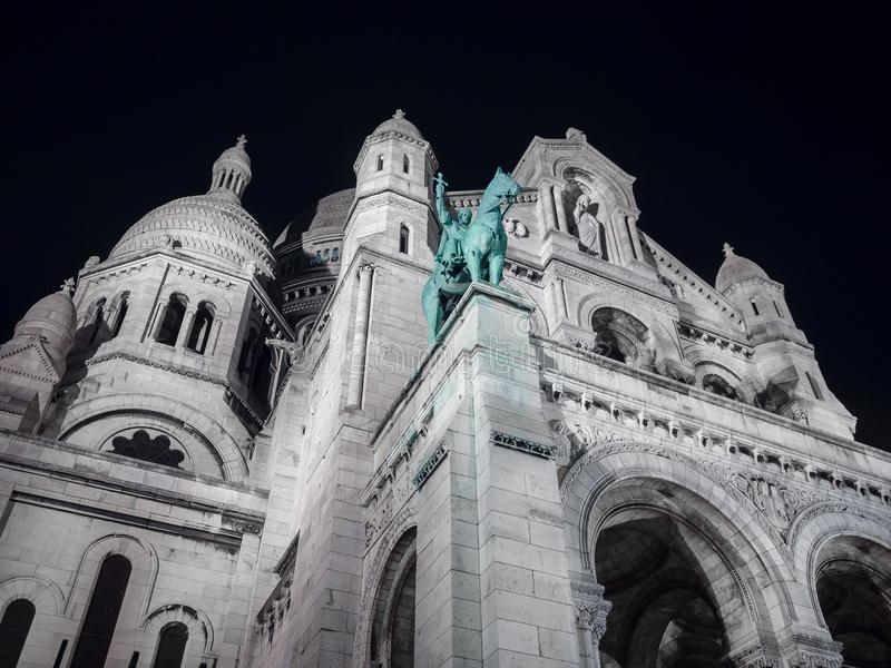 Night View of the Sacred Heart church in Montmartre, Paris. stock photography