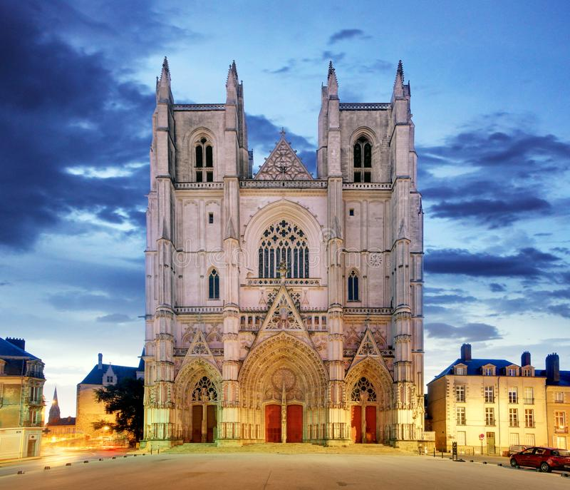 Night view on the saint Pierre cathedral in Nantes city in France royalty free stock photography