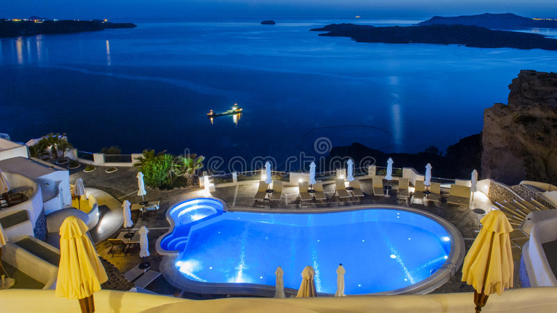 The night view of Santorini Fira in Greece. Greece Santorini Fira night view is very beautiful. Photo taken in April 2017 royalty free stock image