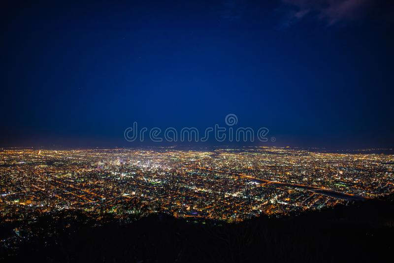 Night view of Sapporo city stock photography